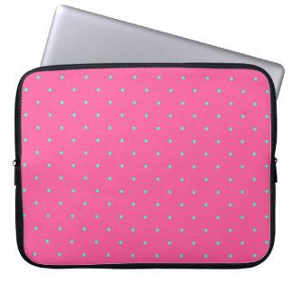 cute elegant baby pink mint polka dots pattern laptop sleeve