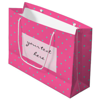 cute elegant baby pink mint polka dots pattern large gift bag
