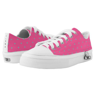 cute elegant baby pink mint polka dots pattern Low-Top sneakers