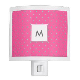 cute elegant baby pink mint polka dots pattern night light