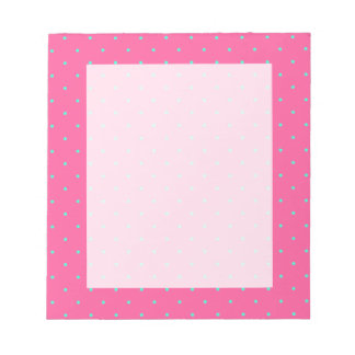 cute elegant baby pink mint polka dots pattern notepad