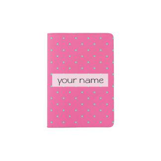 cute elegant baby pink mint polka dots pattern passport holder