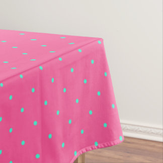 cute elegant baby pink mint polka dots pattern tablecloth