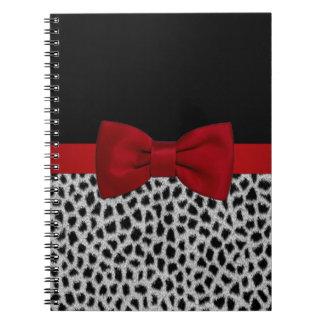 Cute elegant black and white leopard skin spiral notebook