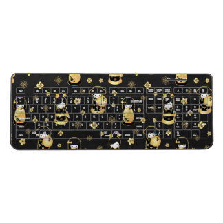 Cute elegant black gold Japanese dolls and flowers Wireless Keyboard