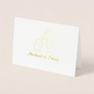 Cute elegant elephants in love personalized foil card