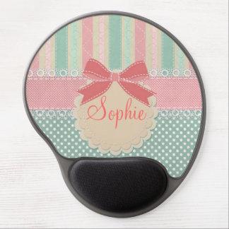 Cute elegant girly trendy vintage stripes gel mouse pad