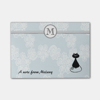 Cute elegant stylish lace black cat monogram post-it® notes