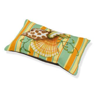 Cute Elegant Stylish Seashells Stripes Pattern Small Dog Bed