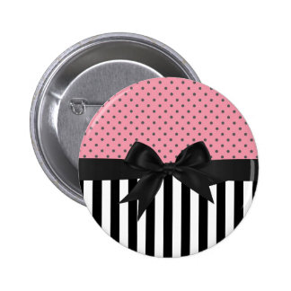 Cute elegant trendy stripes polka dots pattern 2 inch round button