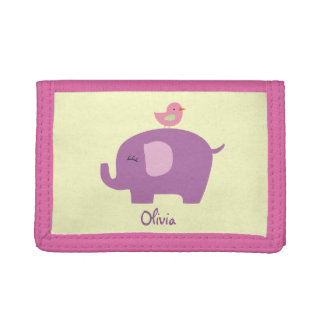 Cute Elephant and Bird Girls Wallet