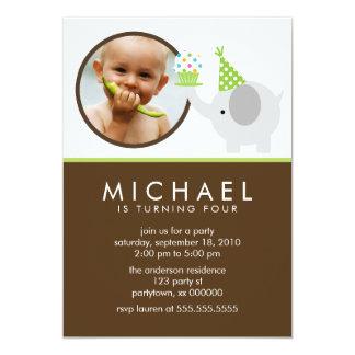 "Cute Elephant and Cupcake Custom Photo 5"" X 7"" Invitation Card"