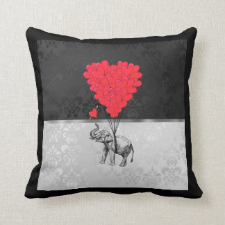 Cute elephant and love heart on grey throw pillow