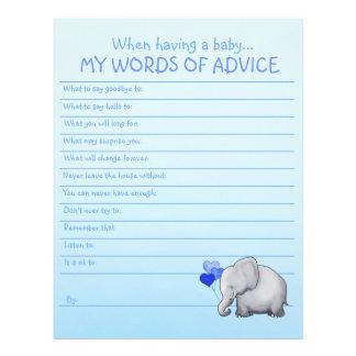 Cute Elephant Baby Boy Shower Advice Template Letterhead