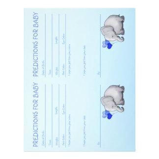 Cute Elephant Baby Boy Shower Predictions Letterhead