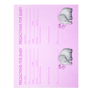 Cute Elephant Baby Girl Shower Predictions Letterhead