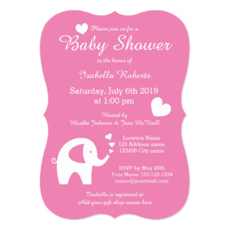 Cute elephant baby shower invitations for girl