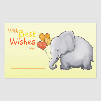 Cute Elephant Baby Shower With Best Wishes From Sticker