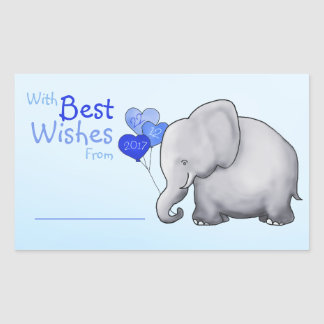 Cute Elephant Baby Shower With Best Wishes Gift Sticker