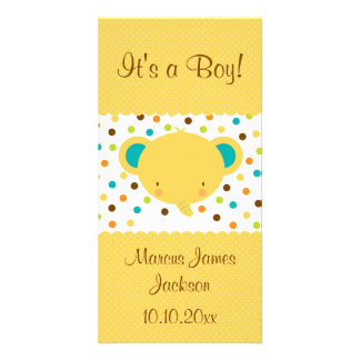 Cute Elephant Birth Announcement It's a Boy Picture Card