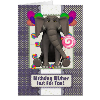 cute elephant birthday card, with candy pops and b card