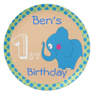 Cute Elephant Birthday Party Plates