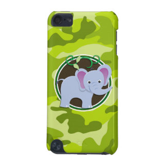 Cute Elephant bright green camo camouflage iPod Touch (5th Generation) Cover