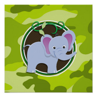 Cute Elephant; bright green camo, camouflage Posters