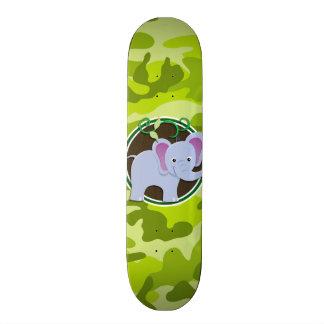 Cute Elephant bright green camo camouflage Skate Board