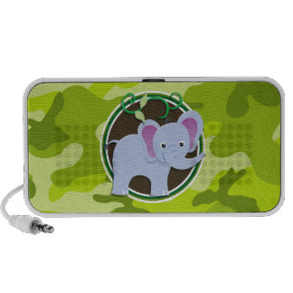 Cute Elephant; bright green camo, camouflage PC Speakers