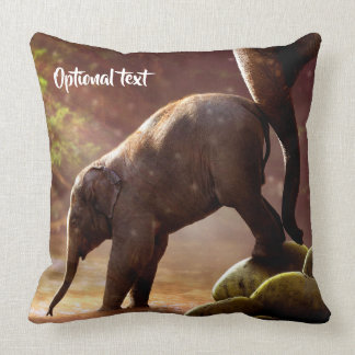 Cute Elephant Calf and Mother Throw Pillow