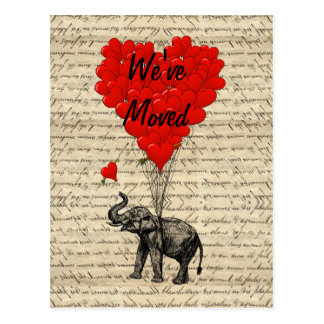 Cute elephant change of address card postcard