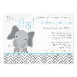 "Cute Elephant Chevron Light Blue Baby Shower 5"" X 7"" Invitation Card"
