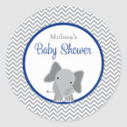 Cute Elephant Chevron Navy Blue Baby Shower Classic Round Sticker