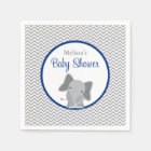Cute Elephant Chevron Navy Blue Baby Shower Napkin