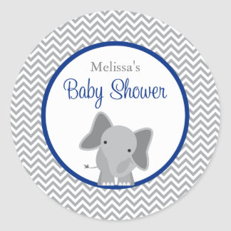 Cute Elephant Chevron Navy Blue Baby Shower Round Sticker