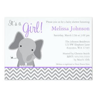 "Cute Elephant Chevron Purple Baby Shower 5"" X 7"" Invitation Card"