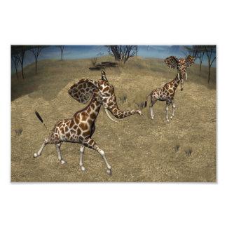Cute Elephant Giraffes Photo Print