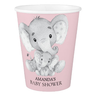 Cute Elephant Girls Baby Shower Paper Cup