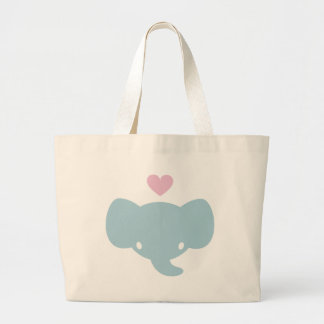 Cute Elephant Heart Graphic Large Tote Bag