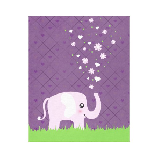 Cute elephant in girly pink & purple stretched canvas print