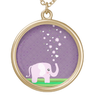 Cute elephant in girly pink & purple gold plated necklace