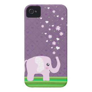 Cute elephant in girly pink & purple iPhone 4 case