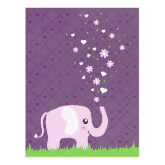 Cute elephant in girly pink purple postcards