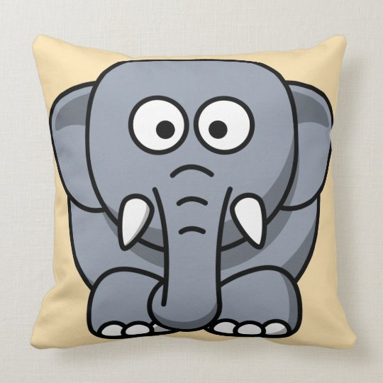 Cute Elephant Kid's Animal Throw Pillow