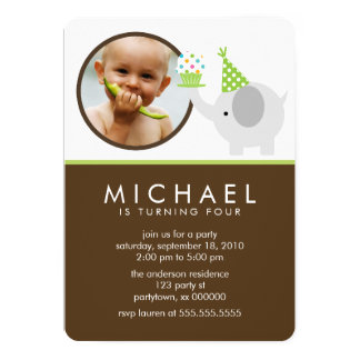 "Cute Elephant Kids Photo Birthday Party 5"" X 7"" Invitation Card"