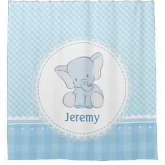 Cute Elephant Light Blue Plaid for Kids Children
