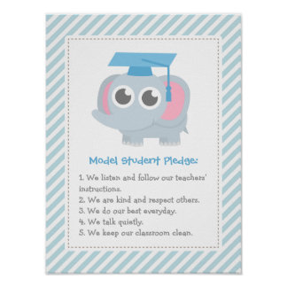 Cute Elephant Model Student Pledge Classroom Rules Poster