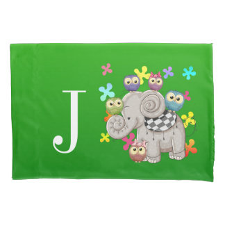 Cute Elephant Monogram Pillowcase