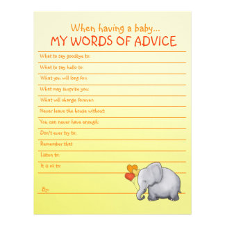 Cute Elephant Neutral Baby Shower Advice Template Letterhead